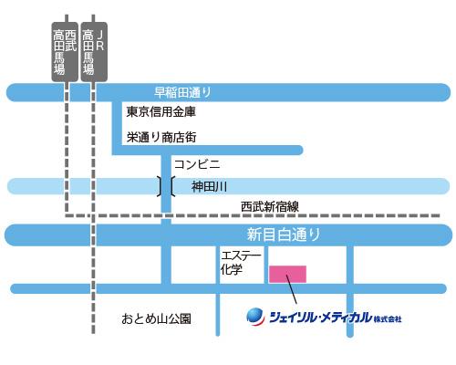 高田馬場駅からのMAP